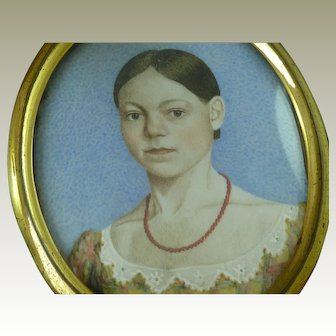 Hand Painted Portrait Miniature Young Lady Woman Anglo American Naive Folk Art Antique