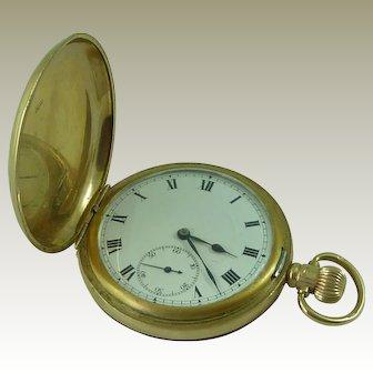 Rolex Keyless Full Hunter Pocket Watch 9ct Solid Gold ALD Hallmarked 1925 Dennison Case Vintage