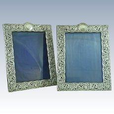 Large Pair 1905 English Hallmarked Rococo Silver Photo Frames Rectangular Sterling Henry Matthews Antique