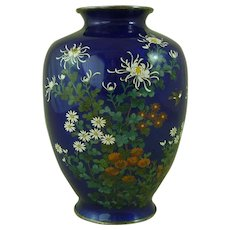 Japanese Silver Wire Cloisonne Enamel Vase Meiji Period Engraved Marked Ando Birds Flowers Basse-Taille