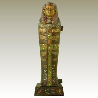 Cold Painted Vienna Bronze Sarcophagus Nude Girl Franz Bergmann Egyptian Revival Hieroglyphics Antique