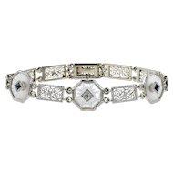 Art Deco Diamond Bracelet, Camphor Glass & Filigree Link 14k White Gold Bracelet with Diamond and Blue French Cut Sapphires, Circa 1930s.