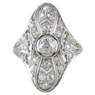 Art Deco Diamond Cocktail Ring, Filigree Design 18 Carat White Gold Dinner Ring with Old European Cut Diamonds, 1910s - 1920s.