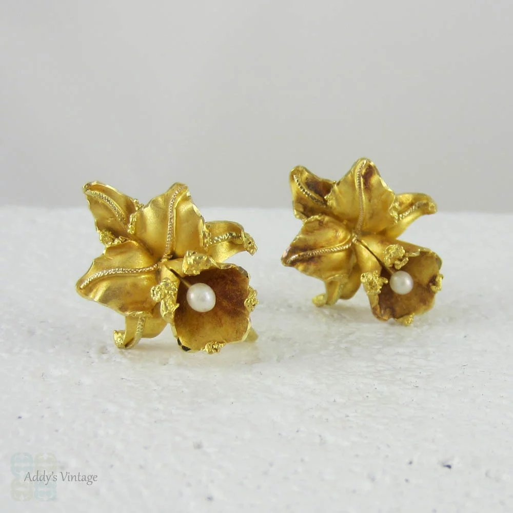 Mid Century Orchid Flower Earrings With Cultured Pearl Drops