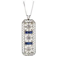 Art Deco Sapphire & Diamond Pendant. Filigree 1930s Conversion Necklace 18k White gold.