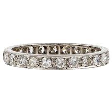 Antique Platinum & Diamond Eternity Ring, 0.80 ctw Full Hoop Wedding Band. Size O.5 / 7.5.