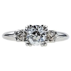 Old European Cut Diamond Engagement Ring, 0.75 ctw. Triple Claw Setting in Platinum, 1930s.