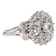 Diamond Cocktail Ring, Vintage 18k White Gold Large Target Diamond Dinner Ring, 1.60ctw.