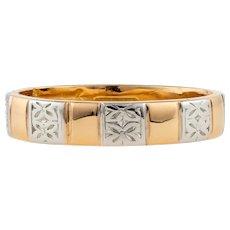 Vintage Engraved 22ct & Platinum Wide Wedding Ring, Flower Blossom Pattern. Size N.5 / 7.