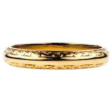 Engraved 22ct Gold Wedding Ring, Vintage 22k Ladies Band. Size M / 6.25.