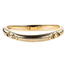 Vintage Men's Curved 14k Wedding Band, 1920s 14ct Military Class Ring by JE Caldwell.