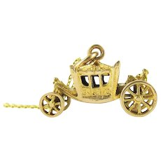 Mid Century Carriage Charm, 9ct Yellow Gold Carriage with Moving Wheels on 9k Chain. Circa 1950s, English Vintage Jewellery.