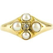 Antique Cultured Pearl & Diamond Ring, Victorian 18 Carat Gold Gemstone Cluster Ring. Fully Hallmarked, Circa 1860s.