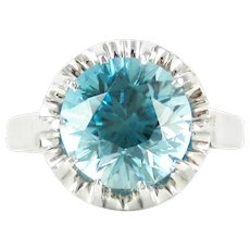 Vintage Blue Zircon & Platinum Engagement Ring, 3.35 ct Blue Zircon Solitaire. 1940s Mid 20th Century Buttercup Style Setting.