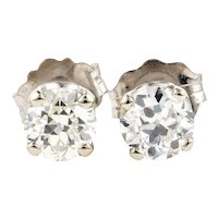 Old European Diamond Earrings. Vintage Classic 0.46 ctw Studs in 14k 14ct White Gold.