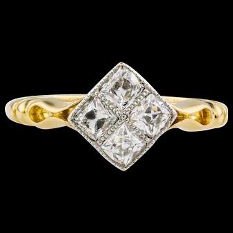 French Cut Antique Diamond Engagement Ring, Kite Shape Diamond Cluster Ring. Circa 1910s.