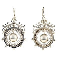 Victorian Sterling Silver Circular Dangle Earrings, Antique Leaf Design Drops.