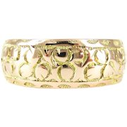 Antique Engraved 9ct Gold Wedding Ring, Wide Foliate Engraved Edwardian Band. Chester Circa 1900s, Size T / 9.5.