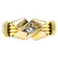 Antique Old Mine Diamond 18ct Ring, Victorian Ribbon Design with Ridged Band. Chester, 1890s, Size M.5 / 6.5.