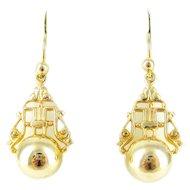 9ct Gold Drop Earrings, Ornate Carved Design with Golden Spheres. 9k Pierced Earrings.