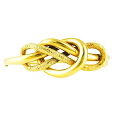 Victorian Lover's Knot Bangle Bracelet, Antique 9ct Gold. Entwined Infinity & Sailor's Knots, Circa 1880s.
