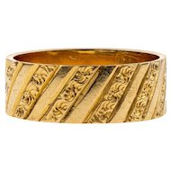 Antique Engraved 18ct Gold Ring, Wide Engraved Floral Column Wedding Band. Circa 1880s, Size I / 4.35.