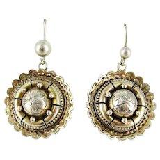 Victorian Sterling Silver Dangle Earrings, Circular Domed Ivy Engraved Dangle Earrings.