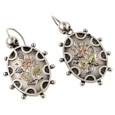 Victorian Engraved Floral Drop Earrings, Sterling Silver & 9k 9ct Dangles. Circa 1880s.