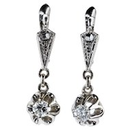 Diamond Dangle Earrings, 0.33 ctw Round Brilliant Cut Diamonds in Engraved Beaded Drop Settings.