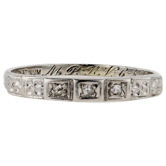 Rose Cut Diamond Wedding Ring, Art Deco Three Stone Diamond Platinum Ring Engraved with Flowers.
