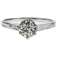 Vintage Diamond Engagement Ring, Old European Cut 0.65ct Solitaire in Engraved 14k White Gold.
