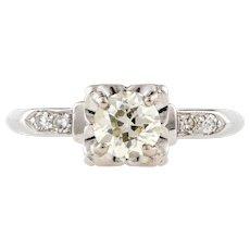 1930s Vintage Diamond Engagement Ring, Platinum Art Deco 0.78 ctw Old Cut Diamond Ring.