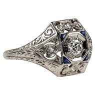 1920s Diamond & Synthetic Sapphire Engagement Ring, Engraved Platinum Art Deco Ring.