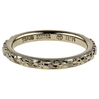 1930s Engraved Wedding 18k Ring, Orange Blossom Traub 18ct White Gold Orange Band. Size H / 4.