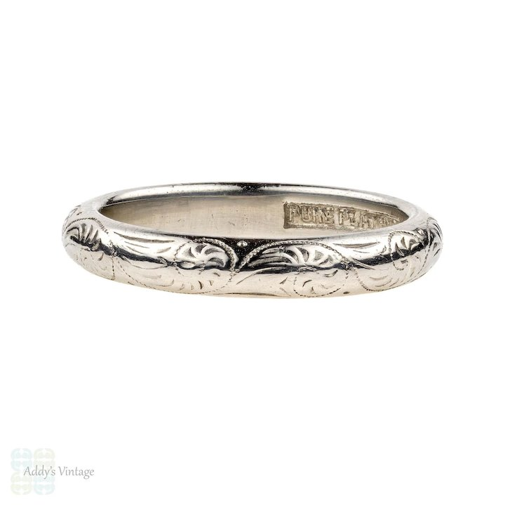 Engraved Platinum Wedding Ring Vintage Heavy Ladies D Shape Band