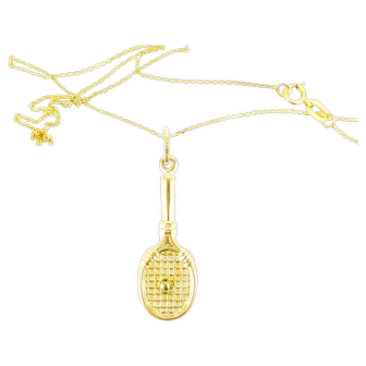 Tennis Racket Charm, Vintage 9ct Pendant on 9k Yellow Gold Chain. Game, Set, Match, Circa 1980s.