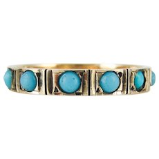 Antique Turquoise Paste Eternity Ring, 9ct Gold Full Hoop Ring. Circa 1880s, Size P / 7.75.