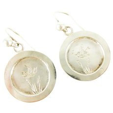 Victorian Swallow Bird Earrings, Antique Sterling Silver Engraved Disc Shape Drops. Circa 1800s.