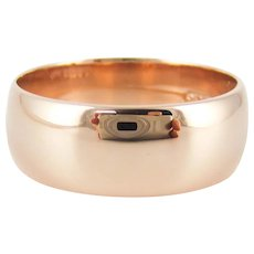 Antique Men's 9ct Gold Wedding Ring, Circa 1910s Wide D Profile Wedding Band, Size Y / 12.