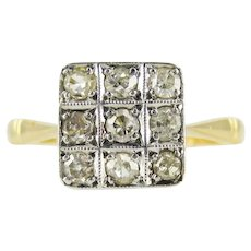 Art Deco Square Checkerboard Diamond Ring, 1920s Engagement Ring. 18ct & Platinum.