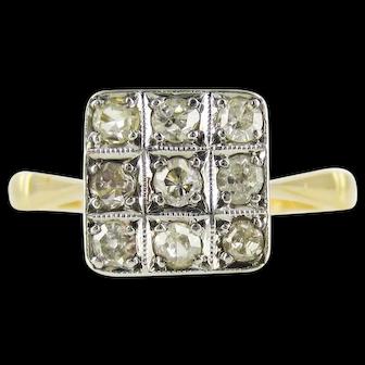 Art Deco Square Checkerboard Diamond Ring, 1920s Engagement Ring. 18ct & Platinum.