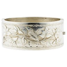 Victorian Sterling Silver Bracelet, Engraved Ivy Leaf Antique Bangle. Circa 1880s.