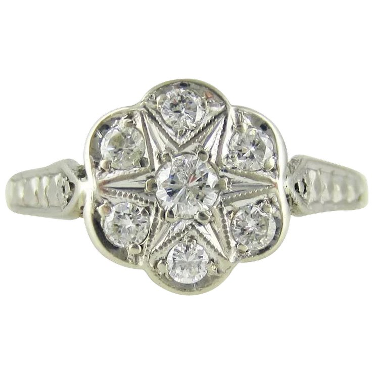 art gold white engagement diamond rings products daisy cluster antiques ring