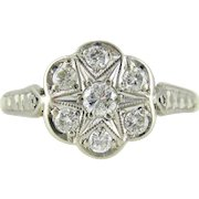 Mid Century Diamond Cluster Engagement Ring, Vintage Daisy Shape Ring with Engraving in 18ct Gold.