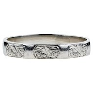 Vintage Hand Engraved Wedding Ring, 1940s Platinum Faceted Band. Size J / 5.