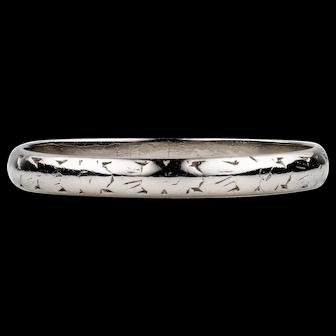 Vintage Ladies Platinum Wedding Ring, Lightly Engraved D Shape Profile Band. Circa 1920s, Size N / 6.75.