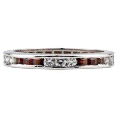 Garnet & Diamond Eternity Ring, 14k Channel Set Full Hoop Wedding Band. Size L.5 / 6.