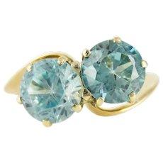 Blue Zircon Toi et Moi Ring, Art Deco 14k Yellow Gold Crossover Design Ring.
