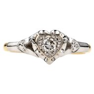 Heart Engagement Ring, Vintage Single Stone Diamond Ring. 18ct & Platinum, Circa 1940s