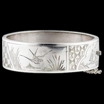 Antique Victorian Diving Swallow Bracelet, Sterling Silver Ship & Sailors Theme Bangle. Circa 1880s.